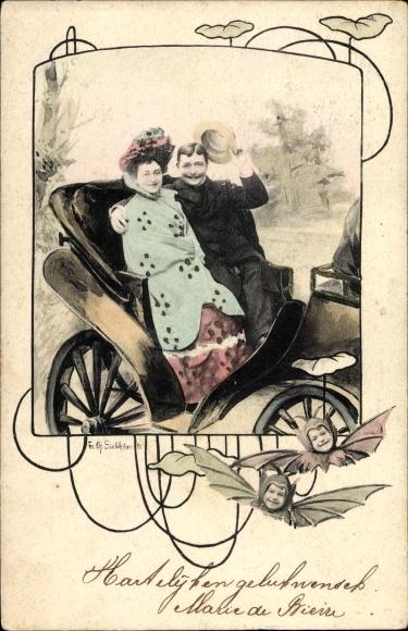 Passepartout Ak Mann und Frau in einer offenen Kutsche, Kinder in Fledermauskostümen