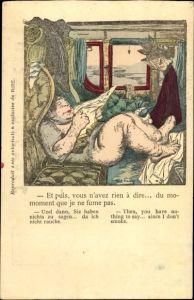 Künstler Ak Faivre, Abel, Et puis, vous n'avez rien à dire, nackter Mann in einem Eisenbahnabteil