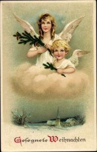 Litho Glückwunsch Weihnachten, Zwei Engel auf einer Wolke, Kirche