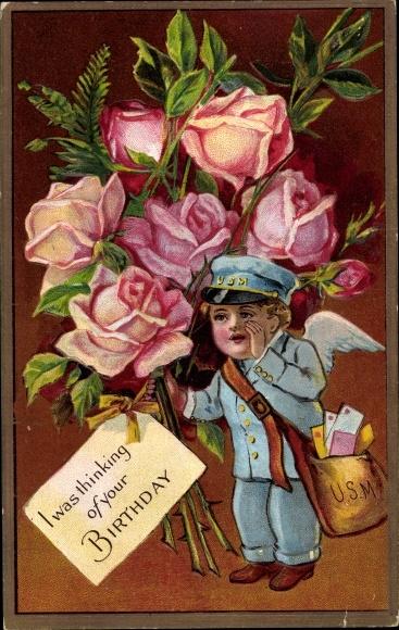 Präge Litho Glückwunsch Geburtstag, Postbote mit Rosenstrauß