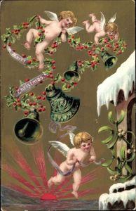 Präge Litho Glückwunsch Weihnachten, Engel, Glocken, Stechpalmenzweige, Mistelzweig