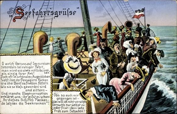 Gedicht Ak Seefahrt, Seekranke an Bord eines Schiffes