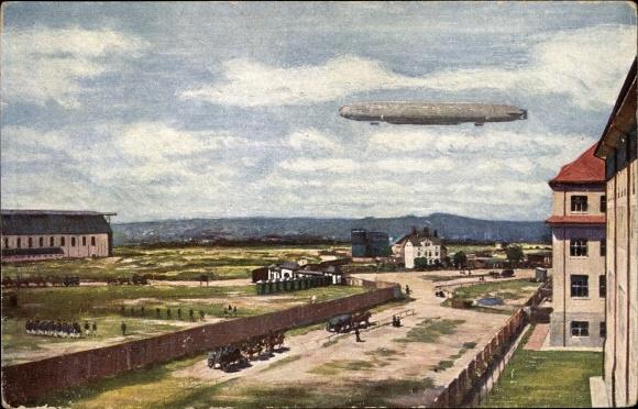 Künstler Ak Dresden Neustadt, Ersatz Abt. des Telegraphen Batl Nr 17, Zeppelin, Kaserne