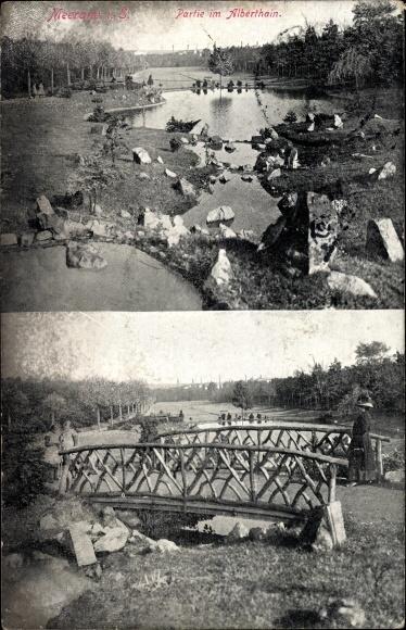 Ak Meerane in Sachsen, Partie im Alberthain, Brücke