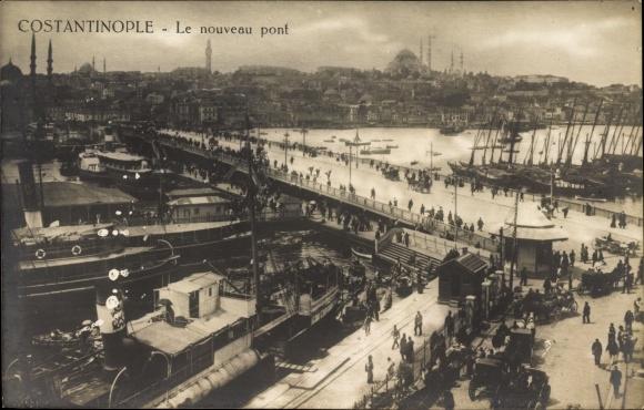 Ak Konstantinopel Istanbul Türkei, Le nouveau pont, Neue Brücke