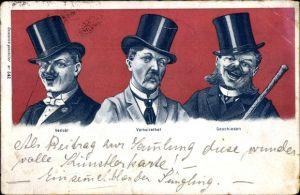 Litho Verlobt, Verheiratet, Geschieden, Männerbilder, Humor