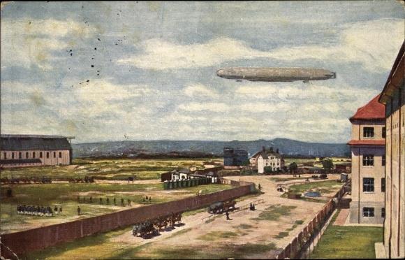 Künstler Ak Dresden Neustadt, Ersatz Abt. des Telegraphen Batl. Nr 7, Zeppelin