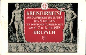 Künstler Ak Bollhagen, Hansestadt Bremen, Turnfest zur 50 Jährigen Jubelfeier des V. Kreises 1912