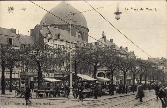 Ak Liège Lüttich Wallonien, La Place du Marché, Marktplatz