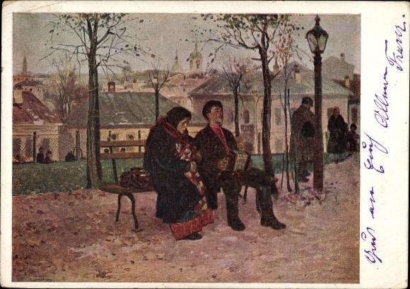 Künstler Ak Makowsky, W. G., Auf dem Boulevard, Akkordeonspieler auf einer Bank