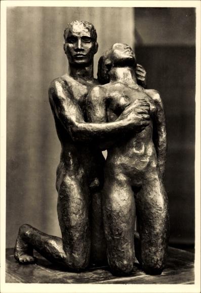Ak Plastik von Georg Kolbe, Kniendes Menschenpaar, erschaffen 1931