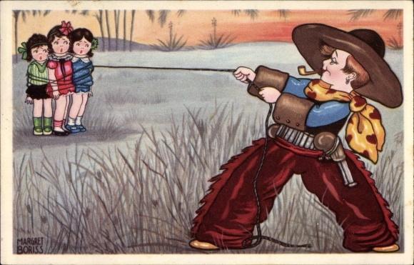 Künstler Ak Boriss, Margret, Cowboy fängt drei Mädchen, Lasso, Amag 0339