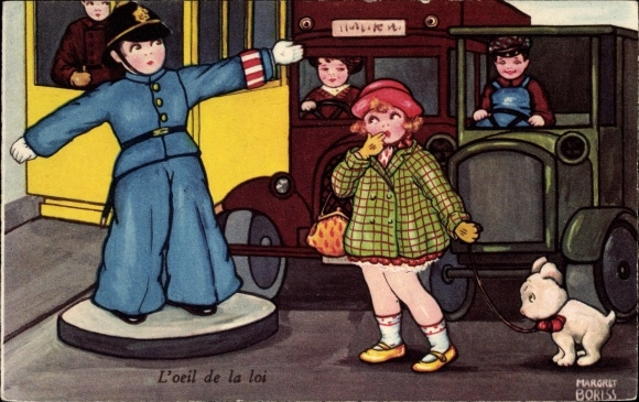 Künstler Ak Boriss, Margret, L'oeil de la loi, Auge des Gesetzes, Verkehrspolizist, Straßenbahn