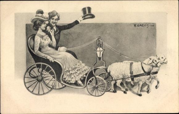 Künstler Ak Gareis, F., Zwei Schafe ziehen eine Kutsche, Paar