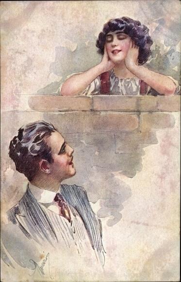 Künstler Ak Guerzoni, Liebespaar, Flirt an einer Mauer