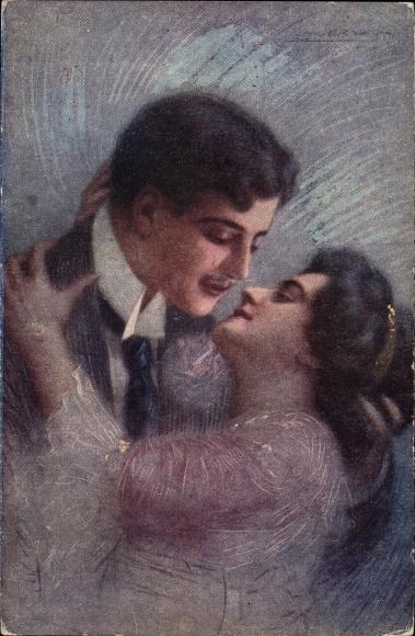 Künstler Ak Guerzoni, Liebespaar, Umarmung, Kuss