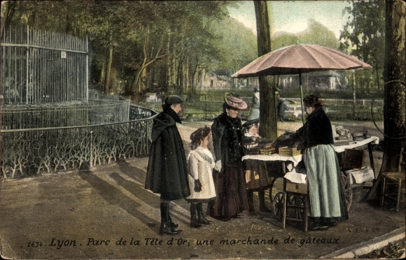 Ak Lyon Rhône, Parc de la Tête d'Or, uns marchande de gâteaux