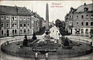 Ak Erlangen in Mittelfranken Bayern, Blick auf den Kaiser Wilhelmplatz, Denkmal
