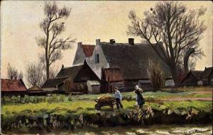 Künstler Ak Gerstenhauer, Johann Georg, Mann mit Schubkarre, Bauernhäuser
