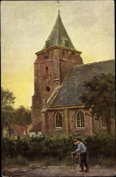 Künstler Ak Gerstenhauer, Johann Georg, Alter Mann mit Gehstock vor einer Kirche
