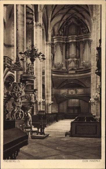 Ak Freiberg im Kreis Mittelsachsen, Innenansicht vom Dom, Blick auf die Orgel