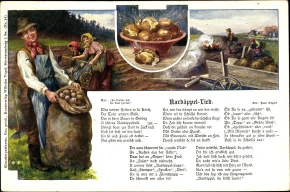 Künstler Lied Ak Schneider, Rud., Siegert, Hans, Aardäppel Lied, Kartoffeln, Bauern