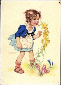 Künstler Ak Lungershausen, Ilse Wende, Mädchen riecht an einer Blume
