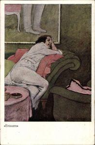 Künstler Ak Dudowich, M., Erinnern, Junge Frau auf einem Sofa