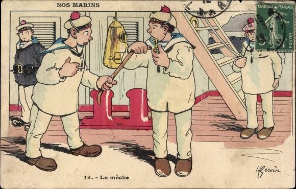 Künstler Ak Nos Marins, La mèche, Französische Matrosen, Zigarette, Pfeife