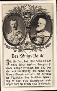 Passepartout Ak Des Königs Dank, Kronprinz Rupprecht von Bayern, König Ludwig III. von Bayern