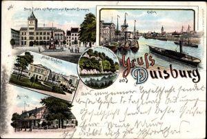Litho Duisburg im Ruhrgebiet, Burgplatz, Rathaus, Mercatorbrunnen, Hafen, Tonhalle, Monning
