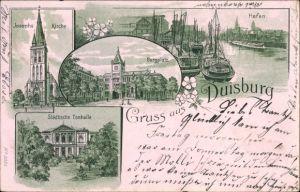 Litho Duisburg im Ruhrgebiet, Josephskirche, Hafen, Burgplatz, Städtische Tonhalle