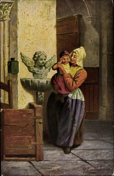 Künstler Ak Gerstenhauer, Johann Georg, Mutter mit Kind in einer Kirche, Weihwasserbecken