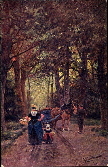 Künstler Ak Gerstenhauer, Johann Georg, Frau und Kind in niederländischen Trachten, Kutsche