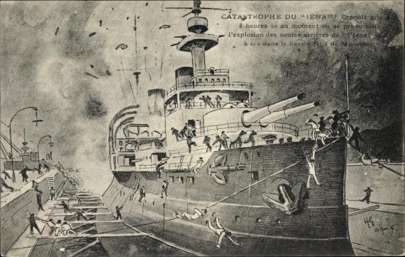 Künstler Ak Catastrophe du Iéna, französisches Kriegsschiff, Linienschiff