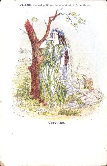 Künstler Ak Grandville, Verveine, Frau als Verbenenpflanze, L'Éclair, journal politique