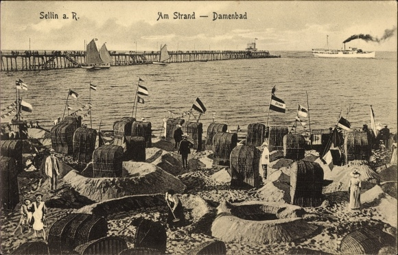 Ak Ostseebad Sellin auf Rügen, Partie am Strand, Damenbad, Strandkörbe