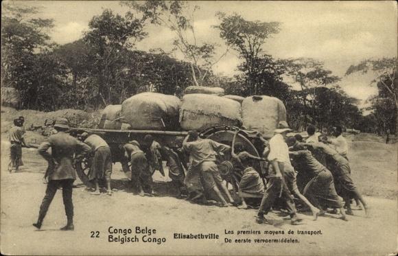 Ganzsachen Ak Lubumbashi Elisabethville DR Kongo Zaire, Les premiers moyens de transport