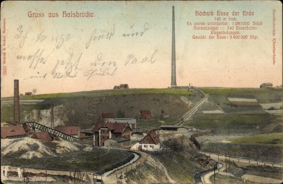 Ak Halsbrücke in Sachsen, Blick auf die Hohe Esse, Stadtansicht