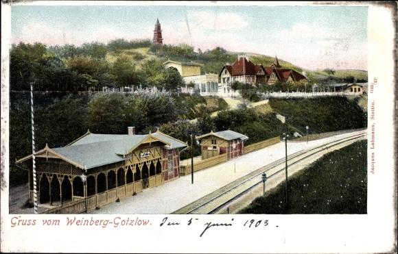 Ak Gocław Gotzlow Szczecin Stettin Pommern, Bahnhof, Weinberg, Dworzec