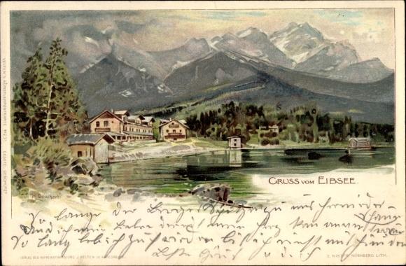Künstler Litho Deuchert, H., Grainau im Kreis Garmisch Partenkirchen, Blick vom Eibsee auf den Ort