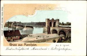 Litho Mannheim in Baden Württemberg, Blick auf eine Brücke über den Rhein