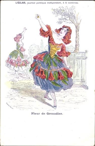 Künstler Ak Grandville, Fleur de Grenadier, L'Éclair, journal politique, Granatapfel