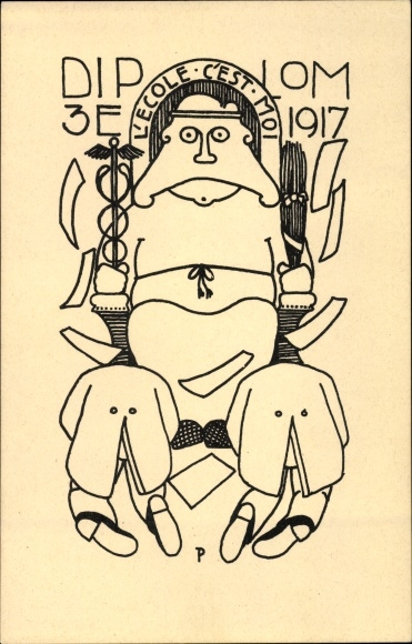 Studentika Ak Diplom 3E 1917, l'ecole c'est moi, Schüler vor dem Henker