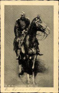 Ak König Christian X von Dänemark auf einem Pferd, Portrait