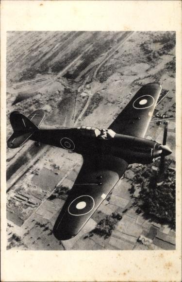 Ak Britisches Militärflugzeug, Hawker Hurricane, Jagdflugzeug