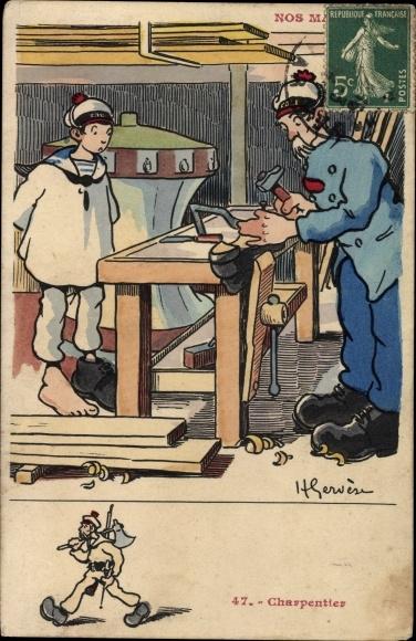 Künstler Ak Nos Marins, Charpentier, Französische Matrosen, Schuster