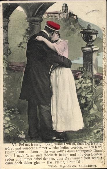 Studentika Ak Heidelberg, Sei net traurig, Liebespaar küsst sich