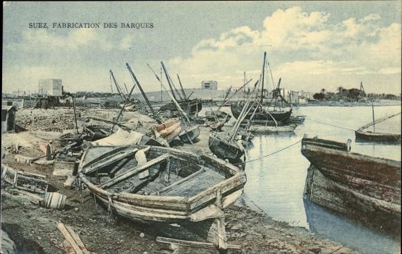 Ak Suez Ägypten, Fabrication des Barques, Werft, Schiffsbau