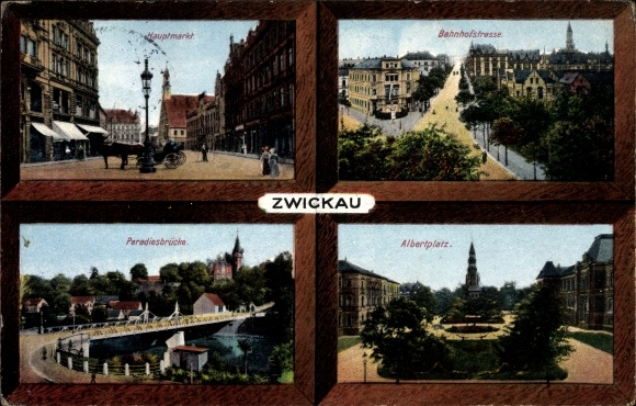 Ak Zwickau in Sachsen, Bahnhofstraße, Hauptmarkt, Albertplatz, Paradiesbrücke, Zieher 9163